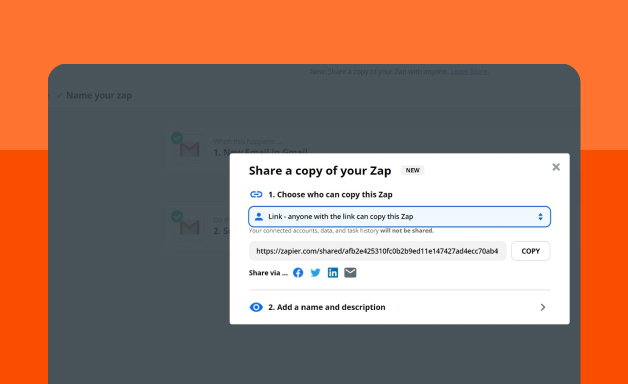 sharing a file on Zapier