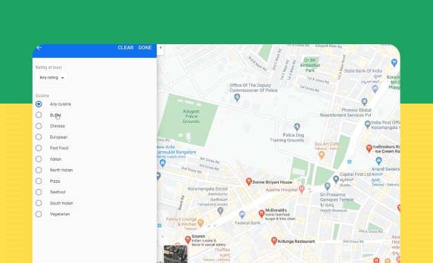 Searching nearby area on Google maps