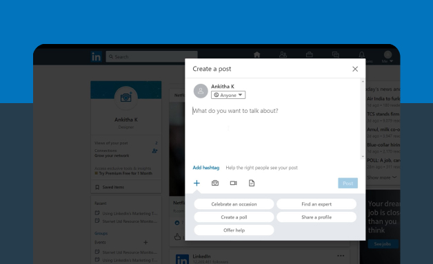 Creating a post on LinkedIn