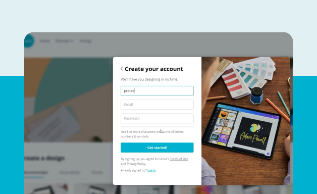 User onboarding on Canva