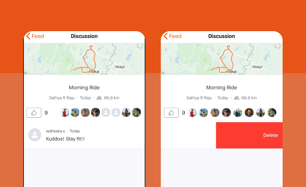 Deleting a comment on Strava