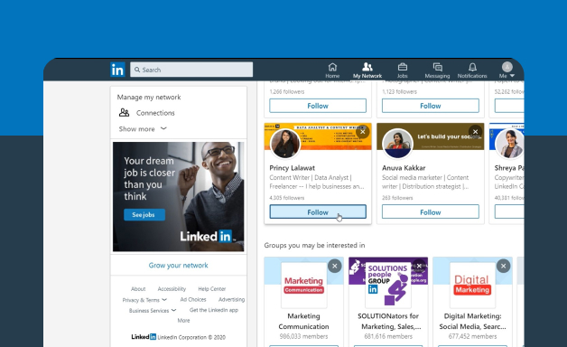Adding connections on LinkedIn