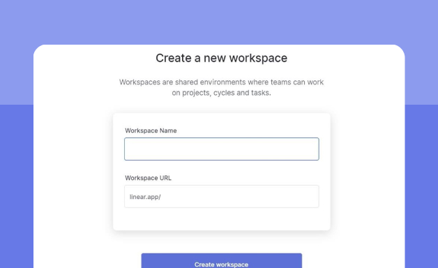 Creating a workspace on Linear