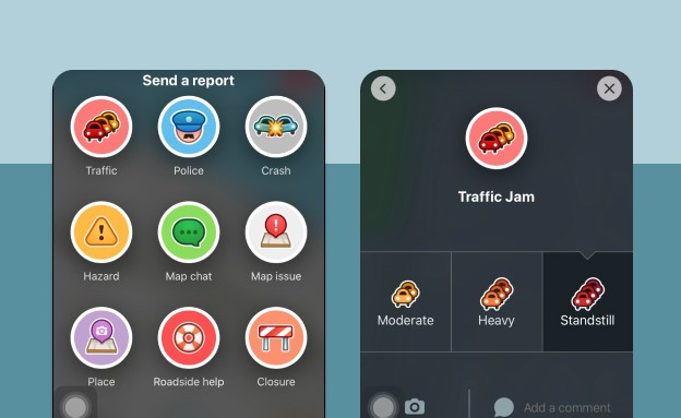 Reporting things on waze