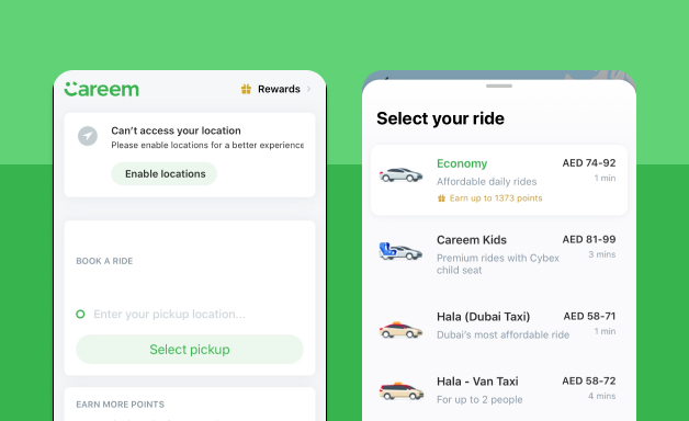 Booking ride on Careem