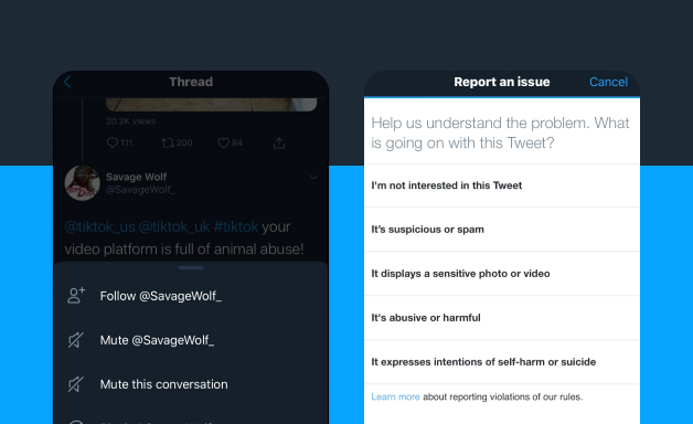 Reporting a post on Twitter