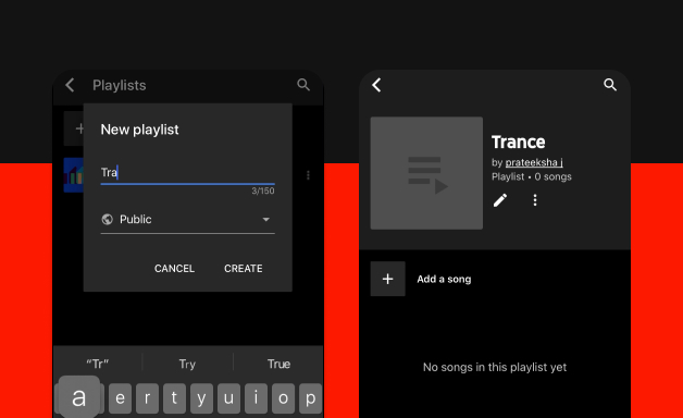 Creating a playlist on Youtube Music